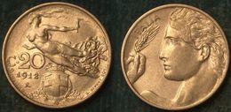 M_p> Regno Vitt Eman III° 20 Centesimi 1912 Donna Librata, BELLA Conservazione Per Il Tipo Di Moneta - 1900-1946 : Victor Emmanuel III & Umberto II