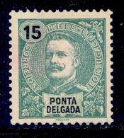 ! ! Ponta Delgada - 1898 D. Carlos 15 R - Af. 27 - No Gum - Ponta Delgada