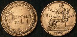 M_p> Regno Vitt Eman III° Buono 1 Lira 1922 - BELLA Conservazione - 1900-1946 : Victor Emmanuel III & Umberto II