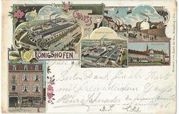 Gruss Aus Königshoffen (Koenigshoffen / Strasbourg) - 12.7.1901 - Lithographies Colorisées 5 Vues - Straatsburg