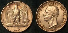 M_p> Regno Vitt Eman III° 5 Lire 1930 - Aquilotto - Argento - ALTA Conservazione - 1900-1946 : Victor Emmanuel III & Umberto II