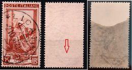 # Filigrana Lettere Bassa 10/10 - 25 Lire Ruota 1° DB Italia Al Lavoro - 1946-.. République