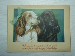 Cpa With Kindest Regards And Good Wishes For A Very Happy Birhday.  Deux Jolis Chiens - Autres