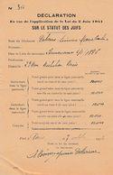 VICHY - Paris 1942 - DECLARATION De NON JUDEITE-  Loi Du 2 Juin 1941 - Documents Historiques