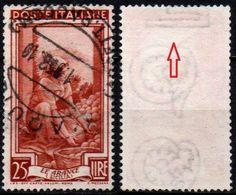 # Filigrana Lettere Alta 6/10 - 25 Lire Ruota 3° DB Italia Al Lavoro - 1946-.. République