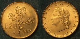 M_p> Repubblica 20 Lire 1957 BELLA CONSERVAZIONE Per Il Tipo Di Moneta -  Ramo Di Quercia - 1946-… : République
