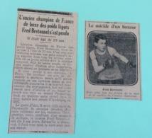 Article De Journal - Ancien Champion De France De Boxe Fred Bretonnel S'est Pendu Suicide D'un Boxeur 4 Septembre 1928 - Documents Historiques