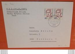 BUND BRD 1331 Paar - FM Frauen - Maria Sibylla Merian - Malerin Blumen  - 28 Bremen 41 - Brief FDC 1987 (2 Foto)(38125) - FDC: Enveloppes