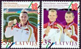 LETTONIE Médailles Or J.O.Londres Beachvolley & BMX 2v Neuf ** MNH - Lettonie