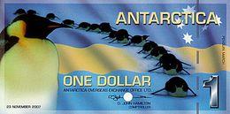 ANTARCTICA 1 Dollar 23 Novembre 2007 Spécimen POLYMER UNC Marche De Manchots - Specimen