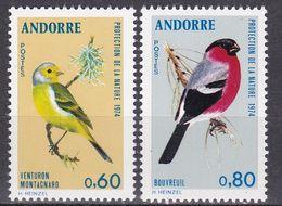 Tr_ Andorra (franz.) 1974 - Mi.Nr. 261 - 262 - Postfrisch MNH - Tiere Animals Vögel Birds - Songbirds & Tree Dwellers