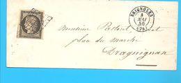 """20c Noir Sur Lettre """"3 Belles Marges,1 Voisin"""" --  Obli. BRIGNOLES - MAI 1850 + Grille - Verso: Obli. Arrivé DRAGUIGNAN - Marcofilia (sobres)"""