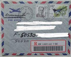 Lettre Belgique Pour La France  2001 Recommandé    Timbre  Composition - Cartas