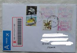 Lettre Belgique Pour La France  2006 Recommandé    Timbre  Composition Avec Atm - Cartas