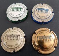 Lot De 4 Capsules Vouvray Château Moncontour, Blanc Et Vert, Crème Et Noir, Crème Et Bleu, Or Et Noir - Placas De Cava