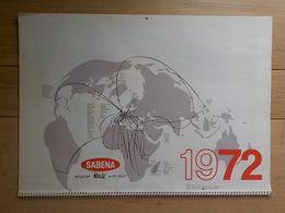 1972 Aviation Sabena Grand Calendrier Villes Belgique Carnaval Binche Bouillon Tongres Antwerp Dinant Gand Brussels - Publicidad