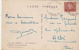 Yvert 515 Pétain Cachet SOREZE Tarn 1942 Pour Albi Sur Carte Postale église - 1921-1960: Modern Period