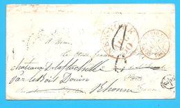 Lettre NEW-YORK Pour La France, Obli: Rouge Paquebot 1854 - Pas Connaisseur - Nombreux Cachets Recto-verso, Voir 2 Scans - Marcofilia (sobres)