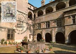 55743 Italia, Maximum 1979 Issogne Aosta, Courtyard Of The Castle Issogne Cour Du Chateau, Fountain  Architecture - Cartas Máxima