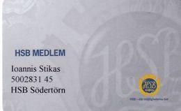 SWEDEN - HSB Medlem, Magnetic Member Card, Used - Otras Colecciones