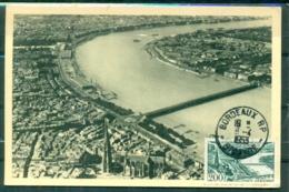 CM-Carte Maximum Card # France-1949 #(Yvert. AV.25 ) Vue Ariienne  De BORDEAUX ( Aerial View,Luftaufnahme ) Bordeaux1953 - Cartas Máxima