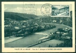 CM-Carte Maximum Card # France-1949 #((Yvert. N° 842A ) Sites Et Monuments # Vallée De La Meuse ,obl. Flamme Haybes 1955 - Cartas Máxima