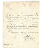 Charles Delville , Secrétaire Du Duc De Berry - Autographe 1819 , à Alexandre Drude De Campagnolles - Autógrafos