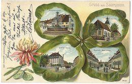 Gruss Aus Saarunion (Sarre-Union) - 19.4.1904 - Lithographie Couleur 4 Vues Dans Trèfle Gaufré - Sarre-Union