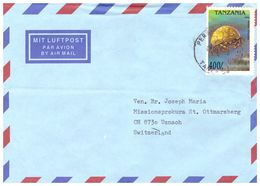 1994 TANZANIA AIR MAIL COUVERT WITH 1 STAMP DROMIA VULGARIS TO SWISS - Tanzania (1964-...)