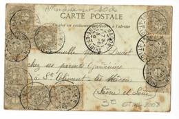 Affranchissement Avec 10 Timbres à 1 Ct Type Blanc, Circ 1904 Sur CP,  Ruines Du Château De Goudet, Environs Du Puy - 1900-29 Blanc