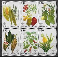 VATICAN     -   1992 .  Y&T N° 930 à 935 ** .   Fruits Tropicaux.   Se Tenant. - Vatican
