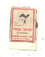 """Façade De Boîte D'allumettes  - Publicité - Rouge à Lèvres """" ROUGE BAISER   """"  Cosmétique,maquillage, +/- 1960 - . (RMT) - Matchbox Labels"""
