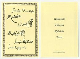 Ex-Libris édité Par L'Université François Rabelais De Tours : Les Différentes Signatures De Rabelais. 10,5 Cm X 15,5 Cm - Ex-libris