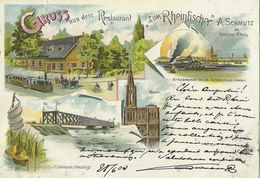 Gruss Aus Dem Restaurant Zum Rheinfischer Strasbourg Neudorf - 29.6.1903 - Lithographie Couleur 5 Vues - Strasbourg