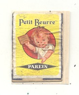 """Façade De Boîte D'allumettes  - Publicité - Petit Beurre  """" Parein """" +/- 1960 -.biscuit (RMT) - Matchbox Labels"""