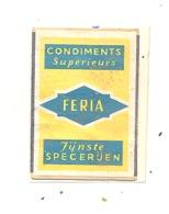"""Façade De Boîte D'allumettes  - Publicité - Fÿnste Specerijen  """" FERIA """" +/- 1960 -.Condiment, épice,... (RMT) - Matchbox Labels"""