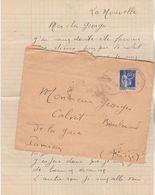 Yvert 365 Paix Lettre Cachet LA NOUVELLE Aude 1939 Pour Pamiers Ariège - Marcofilia (sobres)