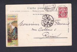 Erinnophilie Vignette Champagne Henriot Reims Vendangeuse Collée Sur CPA Luzern Kapellbrucke Jesuitenkirche Ref42457 - Commemorative Labels