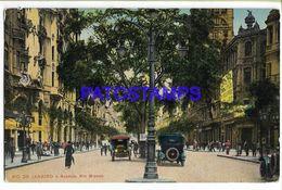 137029 BRAZIL BRASIL RIO DE JANEIRO AVENUE RIO BRANCO & AUTOMOBILE POSTAL POSTCARD - Brazil