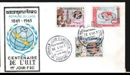 Laos FDC 1965 UIT Centenary (G113-55) - Organizations