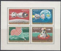 Hungary 1970 -  Apollo 13 - Miniature Sheet Mi Block 2594A-2597A ** MNH - Raumfahrt