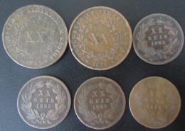 Portugal - 6 Monnaies XX REIS 1847 à 1884 - Portugal