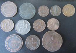 Italie + Etats Pontificaux - 12 Monnaies Dont BAIOCCO 1849, 5 Centesimi 1826, 4 Soldi 1866, Etc... - Italie
