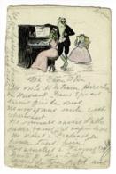 """Carton à Dessin ( 9.6 X 14.5 Cm ) Illustré & Utilisé En CP """" Grenouilles Humanisées Chantant Accompagnées Au Piano, 1907 - Animales Vestidos"""