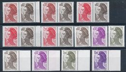 "N-955: FRANCE: Lot ""LIBERTE""** N°2179a(2)-2376b(3)- Papier Couché-2183a(2)-2184a(2)-2185a(2)-2276a Signé - Neufs"