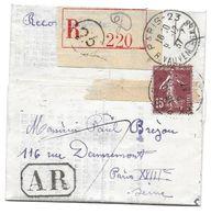 RIVOLLET BREJOU 1937 REC 220 PARIS 23 MARQUE OVALE 19 - LETTRE - Marcophilie (Lettres)