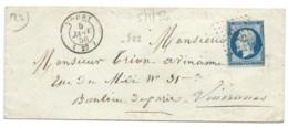 N° 14 BLEU NAPOLEON SUR LETTRE / TOURY POUR VINCENNES / 5 JANV 1856 / PC 3402 IND 7 - 1849-1876: Classic Period