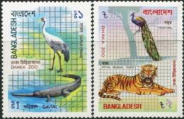 BANGLADESH 1984 Dhaka Zoo Crocodile Crane Peacock Birds Bengal Tiger Animals Fauna MNH - Paons