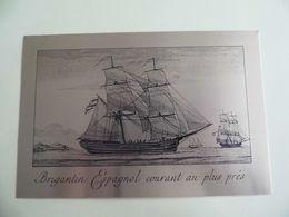 Plaque Metallique D'orée - Brigantin Espagnol Courant Au Plus Près - - Boten