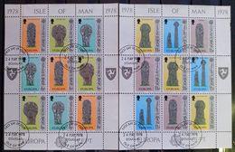 MAN -- IVERT 120/25 USADOS - EUROPA CEPT 1978 ( MINI PLIEGO CON 3 SERIES - Isle Of Man
